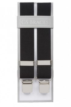 Plain Black Elastic Trouser Braces With Large Clips